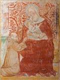 玛丹娜贝加莫- Giottesque中世纪壁画从14。分的。在大教堂二圣玛丽亚Maggiore 图库摄影