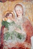 玛丹娜贝加莫- Giottesque中世纪壁画  图库摄影