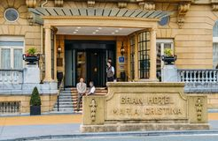 玛丽亚克里斯蒂娜老旅馆,圣塞瓦斯蒂安,基普斯夸省,巴斯克地区,西班牙 免版税图库摄影
