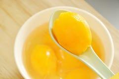 玛丽亚在糖浆的李子热带水果用在匙子的冰冷的点心 库存照片