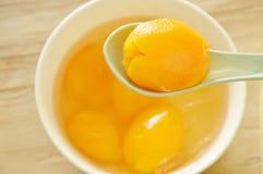 玛丽亚在糖浆的李子热带水果用在杯子的冰冷的点心 库存照片