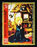 玛丽亚由斯蒂芬Lochner称赞耶稣孩子, 1400-1451,绘画从老Pinakothek,慕尼黑serie,大约1972年 免版税图库摄影