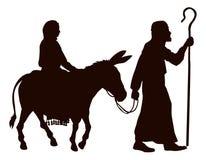 玛丽和约瑟夫剪影 免版税库存图片