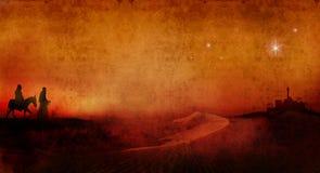 玛丽和约瑟夫横跨沙漠3 库存照片