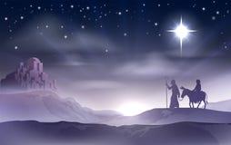 玛丽和约瑟夫诞生圣诞节例证 库存图片