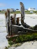 玛丽斯图尔特的船首的遗骸在Scarinish港口,泰里岛运送 免版税库存图片