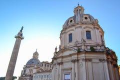 玛丽的最圣洁的名字的教会Trajan论坛的和 库存图片