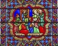 玛丽耶稣彩色玻璃巴黎圣母院巴黎法国 免版税库存照片