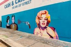 玛丽莲・梦露和约翰・肯尼迪壁画在迈阿密佛罗里达 库存图片