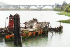 玛丽D的遗骸 金海滩的俄勒冈休姆 免版税库存图片