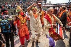 玛哈Shivaratri节日, Pashupatinath寺庙,钾 库存照片