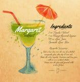 玛格丽特鸡尾酒水彩卡拉服特 免版税库存照片