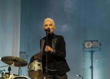 玛里弗雷德里克松(Roxette)唱歌-在哈巴罗夫斯克,俄罗斯住 免版税库存照片