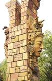 玛雅人战士雕象 免版税图库摄影