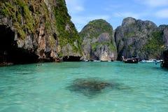 玛雅人海湾是最美丽的天堂海滩在泰国 免版税库存图片