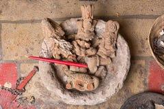 玛雅人雕象特写镜头在危地马拉 库存图片