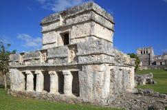 玛雅废墟在Tulum,墨西哥 免版税库存图片