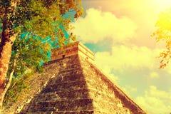 玛雅金字塔奇琴伊察,墨西哥 古老墨西哥旅游胜地 免版税库存照片
