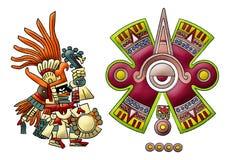 玛雅阿兹台克神的huitzilopochtli 库存例证
