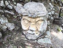 玛雅雕象废墟  免版税库存照片