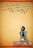 玛雅-阿兹台克人观察星座夜 免版税库存图片