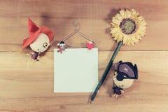 玩偶、巫婆和海盗在木地板上 库存照片