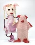 玩偶桃红色旧布玩具 库存图片