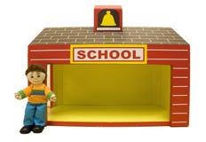 玩偶男小学生校舍玩具 库存图片