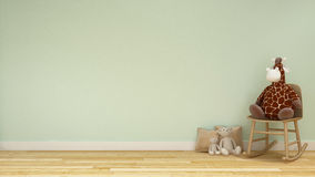 玩偶长颈鹿和熊在孩子屋子或家庭娱乐室淡色样式里- 免版税库存照片