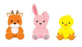 玩偶鹿兔子小鸡传染媒介例证 免版税库存照片