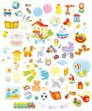 玩具、动物和书 免版税库存照片