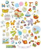 玩具、动物和书 免版税库存图片
