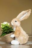 玩具兔宝宝丝毫花盆 免版税库存图片