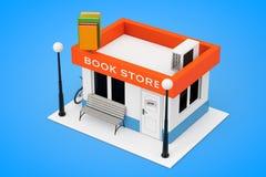玩具动画片书店或书店大厦门面 3D renderin 免版税图库摄影