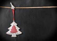 玩具圣诞树和地方文本的 免版税库存图片