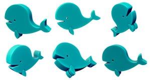 玩具在白色隔绝的鲸鱼3d集合 库存例证