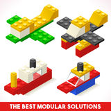 玩具块船等量飞机的比赛 库存图片