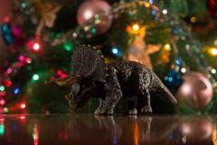 玩具恐龙新年 免版税库存图片