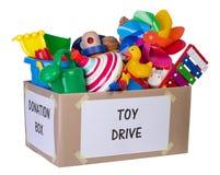玩具捐赠箱子 库存图片