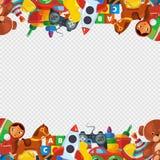 玩具框架 玩具熊卸车金字塔翻转者蜗牛机器桶陀螺孩子操场传染媒介的边界模板 皇族释放例证