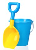 玩具桶和小铲 免版税图库摄影