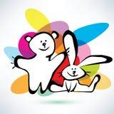 玩具熊和兔宝宝象 免版税库存照片
