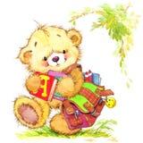玩具熊和学校背景 皇族释放例证