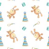 玩具熊和木玩具样式 库存例证