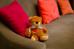 玩具熊坐沙发在屋子里 免版税库存图片