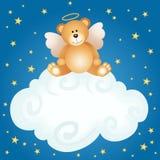玩具熊天使婴孩云彩背景 库存照片