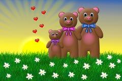 玩具熊家庭 免版税库存照片