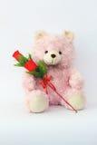 玩具熊,桃红色和英国兰开斯特家族族徽 免版税库存照片