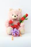 玩具熊,桃红色在白色背景 库存图片