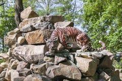 玩具狮子在岩石站立 库存图片